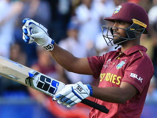 West Indies' Nicholas Pooran celebrates