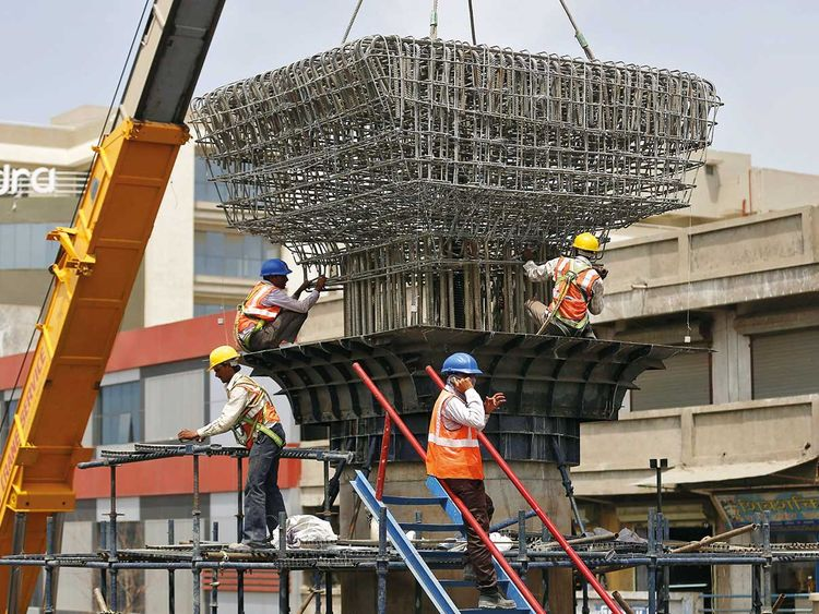 Work in progress at the site of a metro railway flyover
