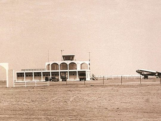 Full width old photo Dubai airport
