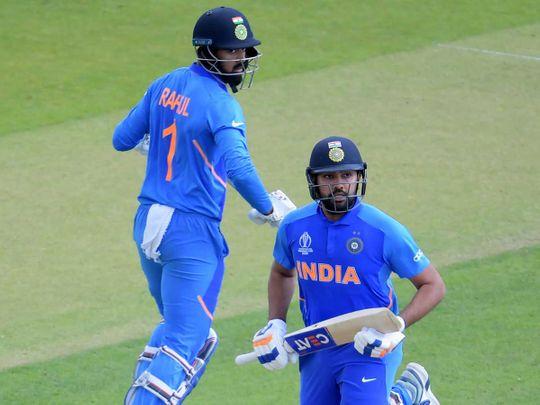 Rohit Sharma (R) and India's K.L. Rahul (