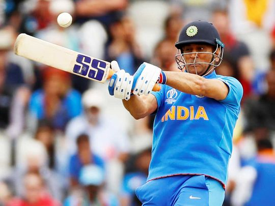 India's MS Dhoni plays a shot