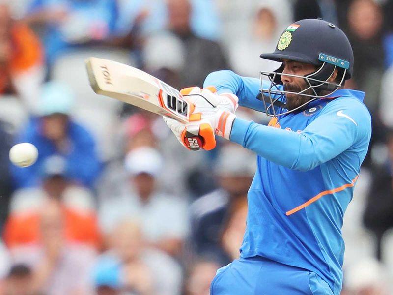 India's Ravindra Jadeja plays a shot