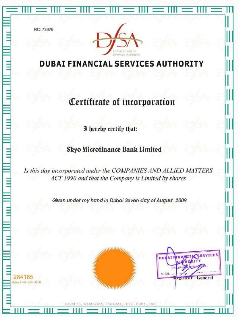 Skyo Certificate