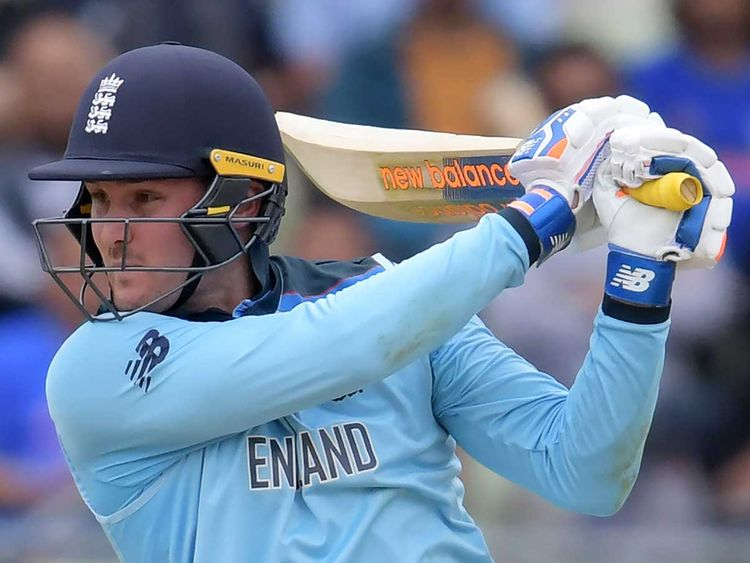 England's Jason Roy plays a shot