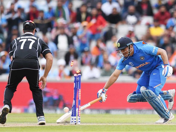 India's MSh Dhoni is run out