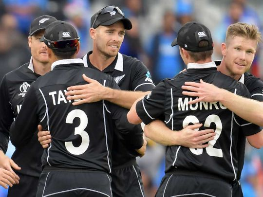 New Zealand's players celebrate victory