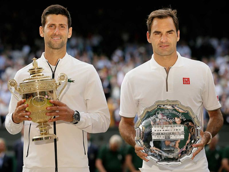 Serbia's Novak Djokovic and Switzerland's Roger Federer