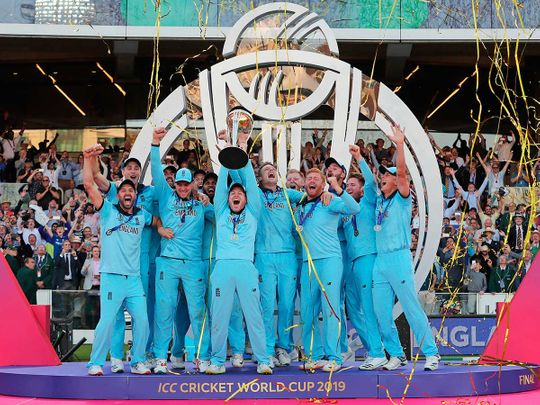 England's captain Eoin Morgan lifts the trophy