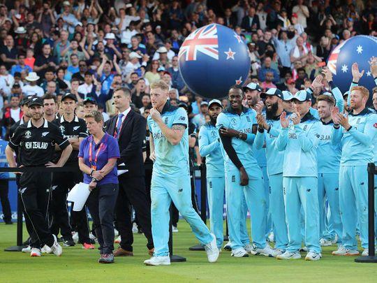 Teammates cheer for England's Ben Stokes