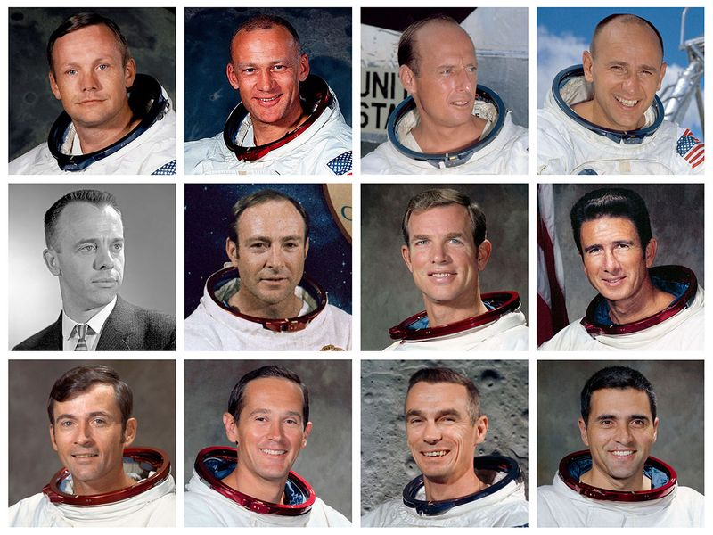 This combination of photos made available by NASA shows the 12 men who have walked on the moon.