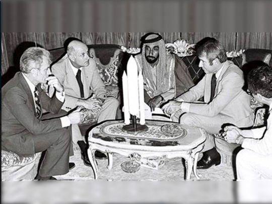 Shaikh Zayed with the Apollo 17