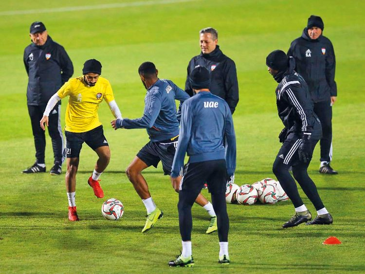 UAE team participate in a training session for the AFC Asian Cup