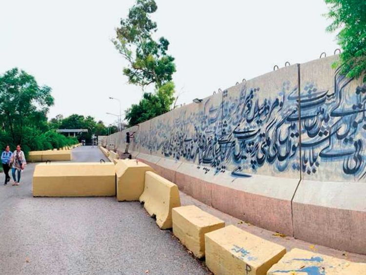 Artists have turned 30-metre-long boundary
