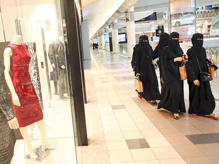 Shoppers at a mall in Riyadh
