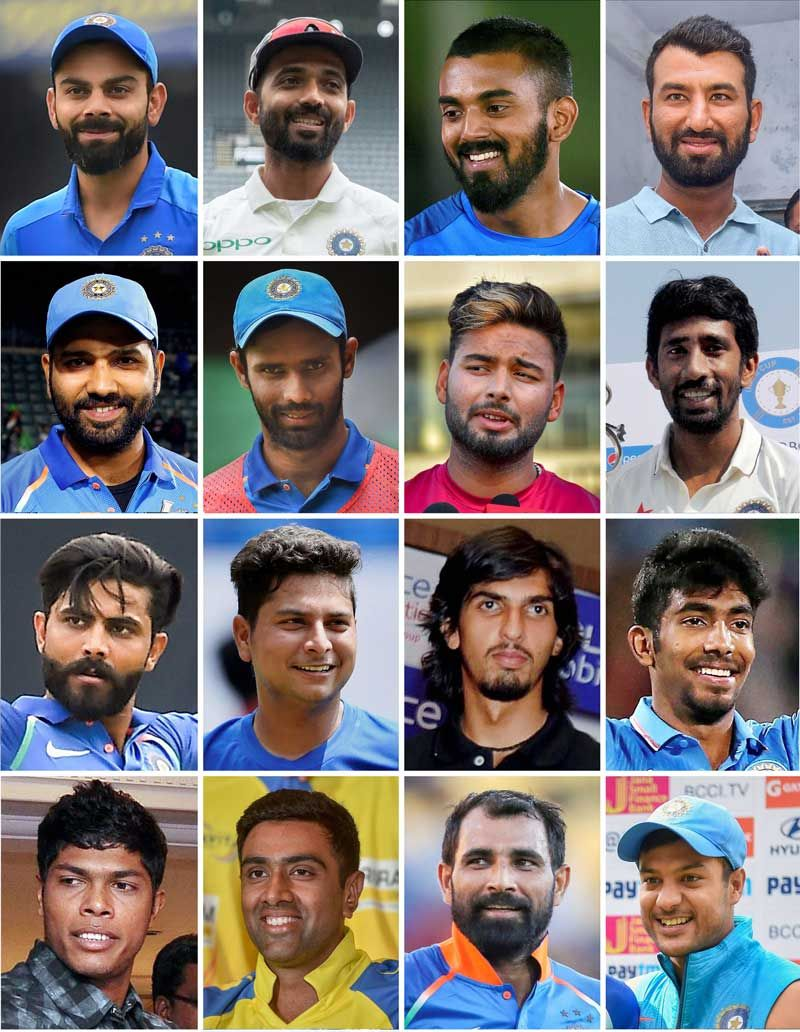 Members of India's 16 member test squad for West Indies tour