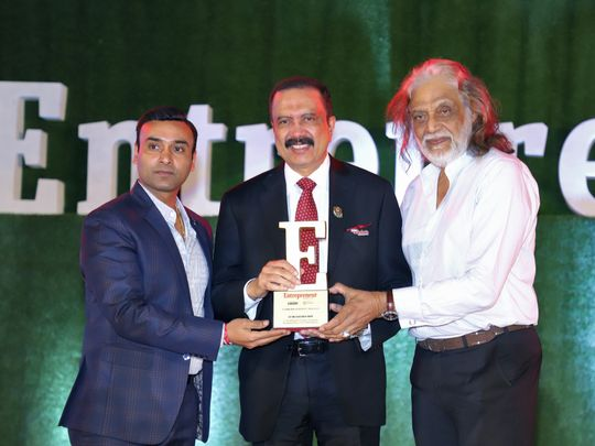 NAT 190721 Dr. Azad Moopen receives Lifetime Achievement Award at the 9th Entrepreneur India Awards 2019-1563711243608