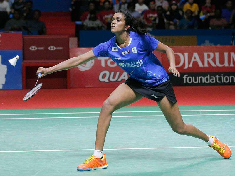 P.V. Sindhu of India competes against Akane Yamaguchi