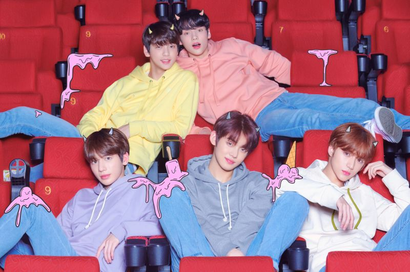 TXT - clockwise from left - Soobin, Huening Kai, Beomgyu, Yeonjun, and Taehyun, photo by Big Hit Entertainment-1563717807337