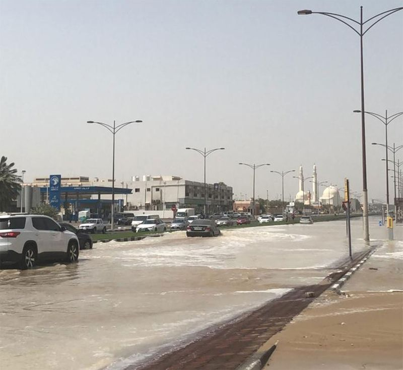 Waterlogged Wasit Road in Sharjah caused by a leak from a distribution pipe.