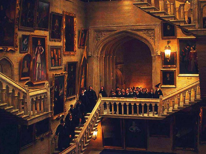 The Hogwarts stairs in Harry Potter films.