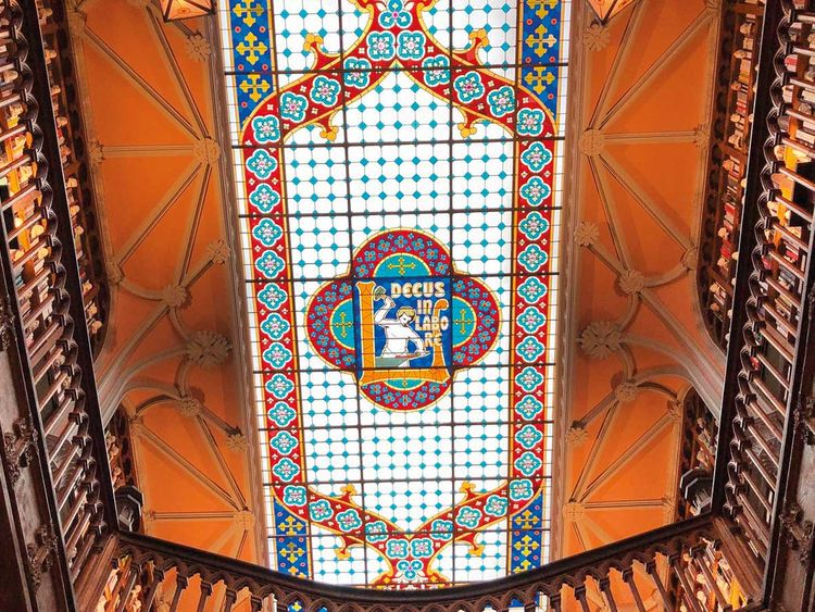 The stained-glass skylight