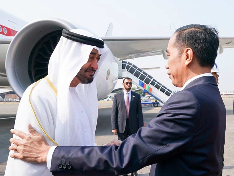 Sheikh Mohamed being received by President Joko Widodo in Jakarta.