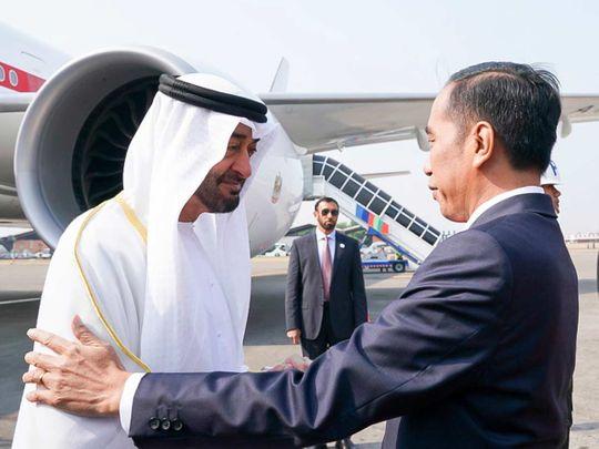 Sheikh Mohamed being received by President Joko Widodo in Jakarta.