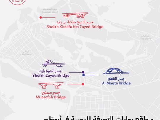 Abu Dhabi toll gate map