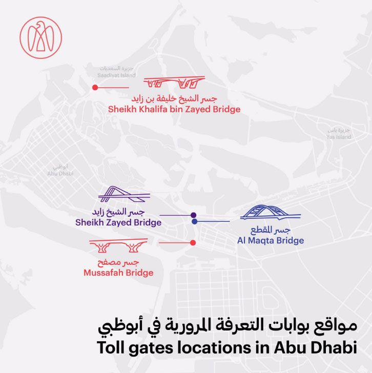 Abu Dhabi toll gate map