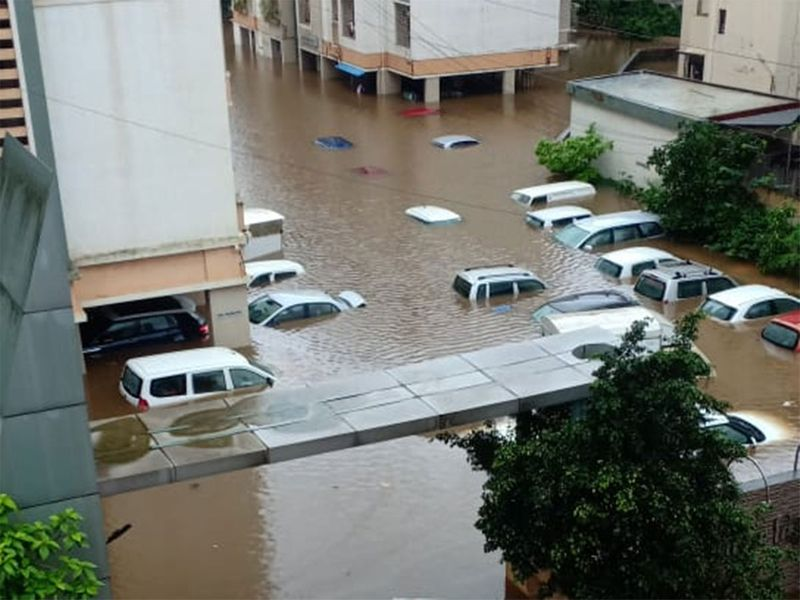 Many buildings are flooded after Ulhas river overflowed--2