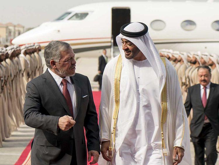 Shaikh Mohamed Bin Zayed Al Nahyan with King Abdullah.