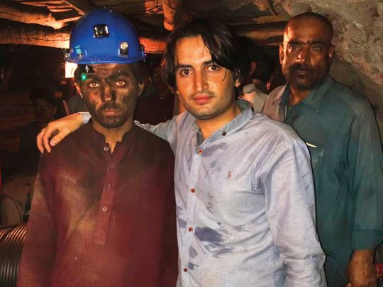 Ali Gul (centre) with coal miners in Quetta.