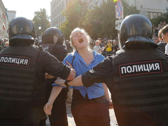 Police officers moscow protest
