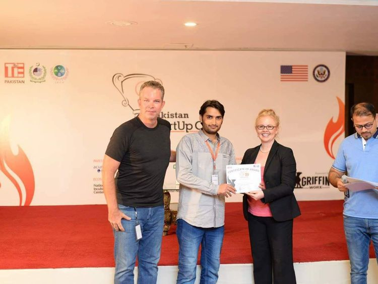 WPK 190728 1 Ali Gul receives an appreciation letter for his prototype of the Smart Eye Helmet at the Islamabad Startup Club held in February 2019. Image courtesy - Ali Gul-1564307734896