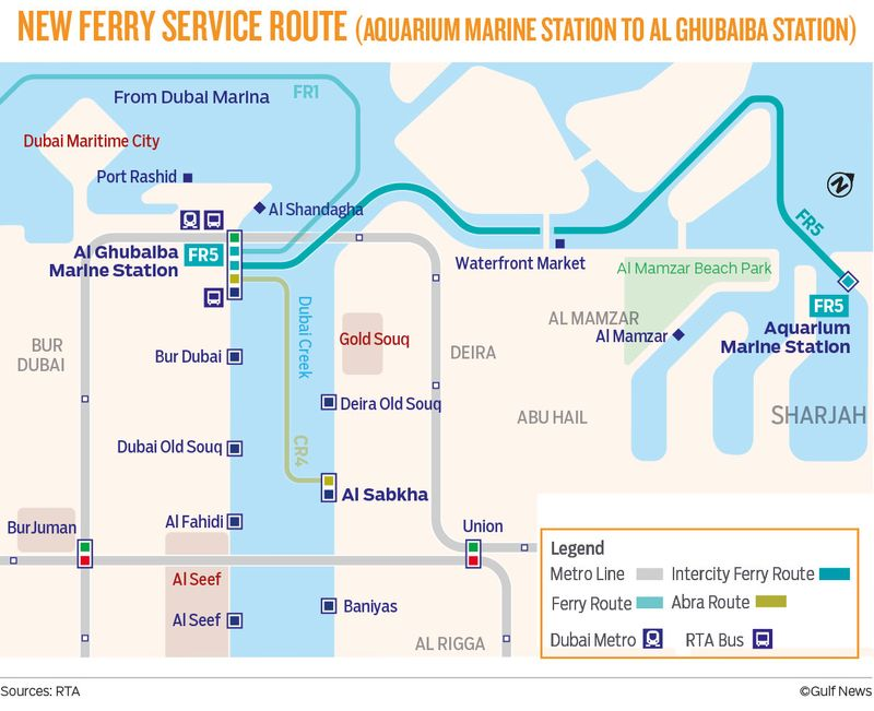 New ferry service route (Aquarium Marine Station to Al Ghubaiba Station)