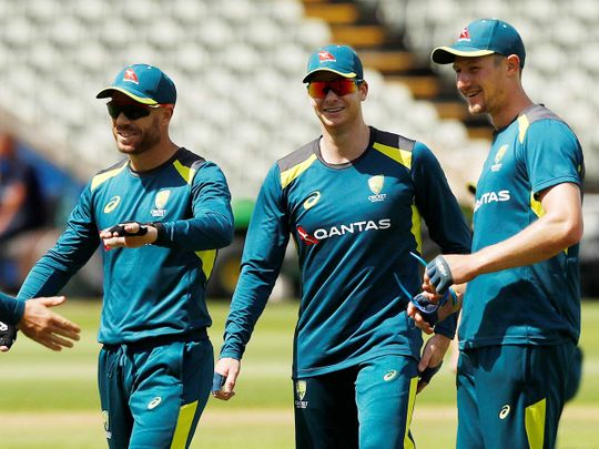 Australia's David Warner, Steve Smith and Cameron Bancroft