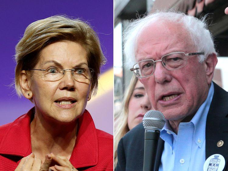 Democratic U.S. Presidential candidates Senator Elizabeth Warren, left, and Senator Bernie Sanders