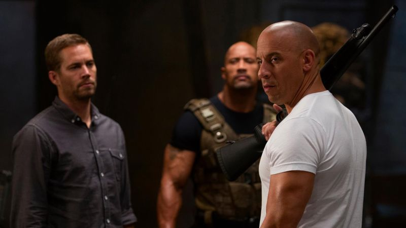 Paul Walker with Dwayne Johnson and Vin Diesel