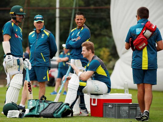 Australia's Travis Head, former Australia captain Steve Waugh