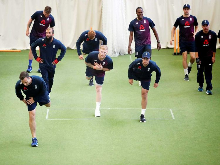 England's Ben Stokes and team mates