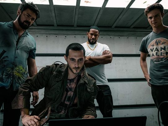 Laz Alonso, Karl Urban, Jack Quaid, and Tomer Capon in The Boys (2019)-1564560617902