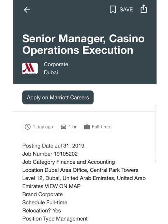 Job advertisement for 'Dubai casino staff' sparks confusion