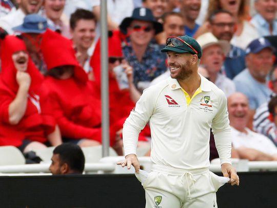 Australia's David Warner gestures