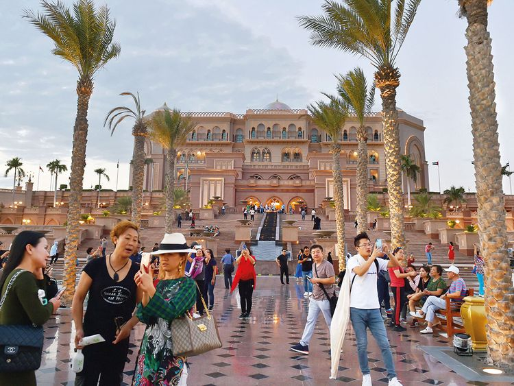 Tourists at the Emirates Palace in Abu Dhabi