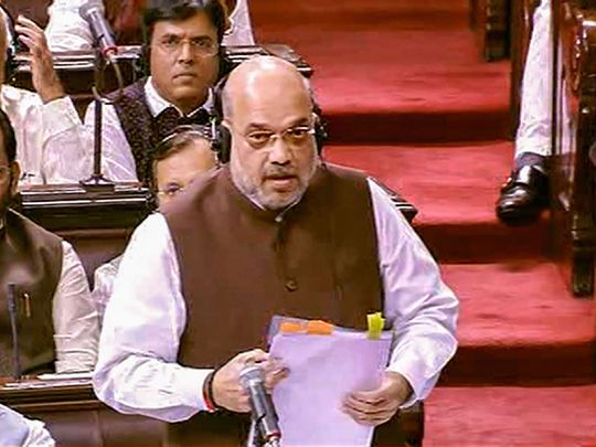 Union Home Minister Amit Shah speaks in the Rajya Sabha