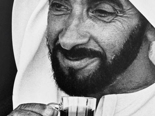 Sheikh Zayed drinking tea