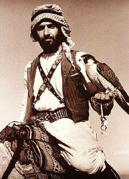Sheikh Zayed with a falcon