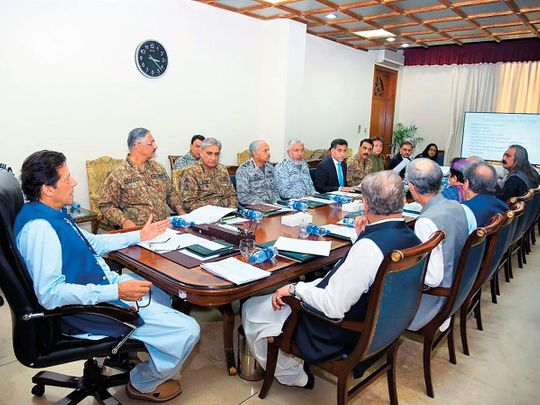Prime Minister Imran Khan chairs a National Security Committee meeting