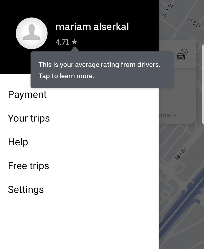 Uber screenshot for riders' rating