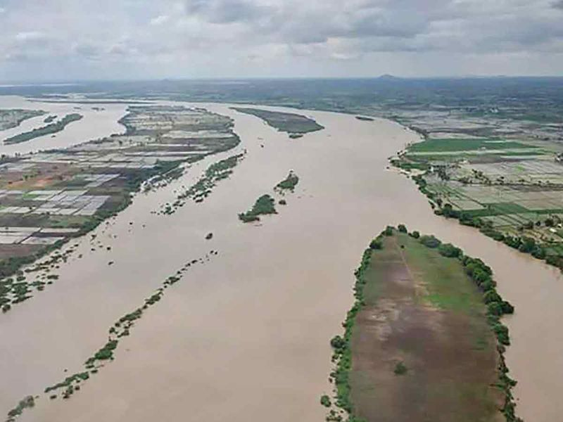 An aerial view of the flood-affected districts of north Karnataka